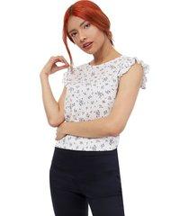 blusa mujer print mini hojas color blanco, talla xs