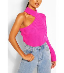 cut out one sleeve sweater, pink