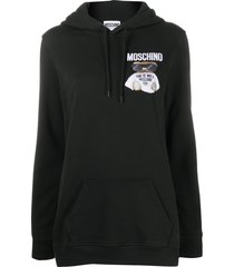 moschino teddy bear-print hoodie - black