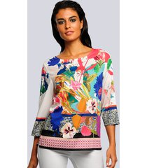 blouse alba moda wit::marine::groen