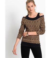 2-in-1 shirt met luipaardprint