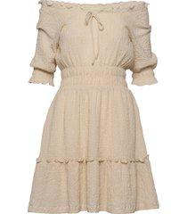 elsa texture korte jurk beige arnie says