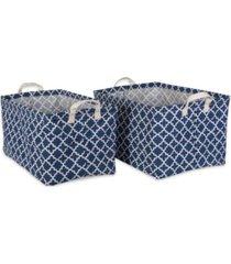 design imports polyethylene coated cotton polyester laundry bin lattice rectangle large set of 2