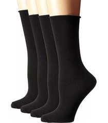 women's stems 4-pack roll-top crew socks, size one size - black