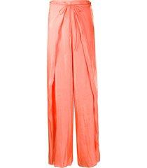kenzo tie front fluid trousers - orange