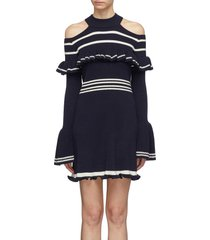 frill yoke stripe rib knit cold-shoulder dress