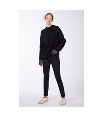 calça basic high skinny long jeans black medio - 46