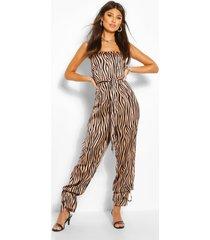 zebra print strapless jumpsuit, stone