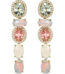 five drop pastel tourmaline and opal earrings