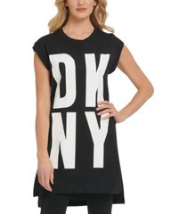 dkny high-low logo tunic