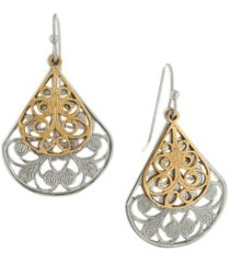 2028 silver-tone filigree teardrop with gold-tone overlay earrings