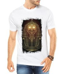camiseta criativa urbana faraó neon olhos luz dourado - masculino