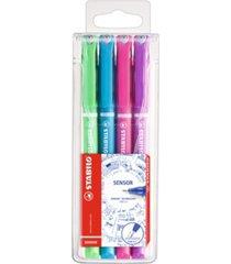 stabilo sensor fine liner pen wallet set, 4 pieces,