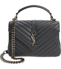 saint laurent medium college matelasse leather shoulder bag - grey