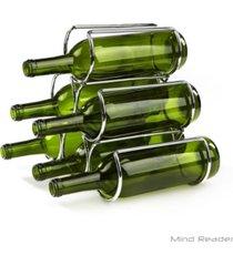 mind reader steel framed pyramid shaped wine bottle holder organizer