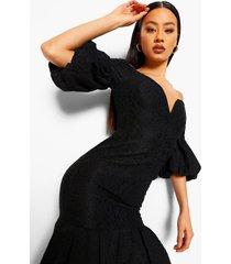 kanten midi jurk met laag decolleté, pofmouwen en franjezoom, black
