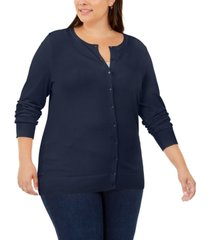 charter club plus size crew-neck cardigan, created for macy's