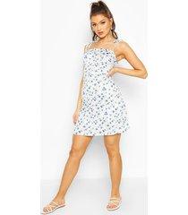 bloemenprint mini jurk met bandjes, blauw