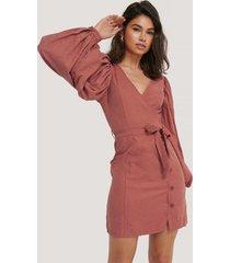 na-kd trend puff sleeve tie waist dress - pink