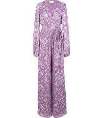 alexis shanice floral-print surplice jumpsuit - purple