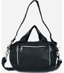 núnoo women's donna washed leather shoulder bag - black