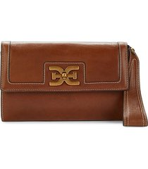 sam edelman women's dottie leather wristlet - luggage