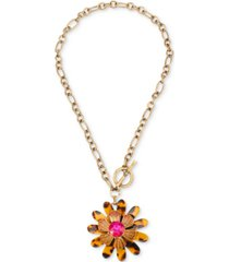 "betsey johnson gold-tone crystal & tortoise-look flower 18"" pendant necklace"