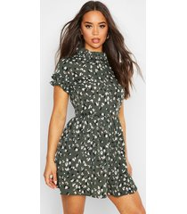 leopard print ruffle neck skater dress, green