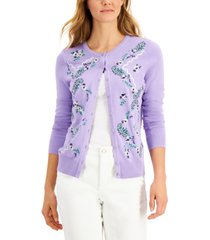 charter club embroidered-floral cardigan, created for macy's