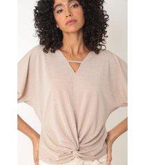 blusa manga curta detalhe decote nó na barra feminina - feminino