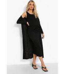 zwangerschap mouwloze midaxi jurk met laag decolleté en duster jas, black