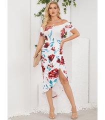 yoins vestido a media pierna blanco con hombros descubiertos y estampado floral con dobladillo con abertura