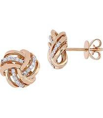 saks fifth avenue women's 14k rose gold & 0.15 tcw diamond knot stud earrings - pink