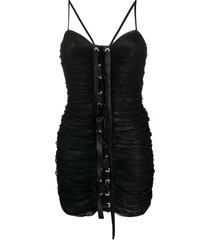 alessandra rich lace-up mini dress - black