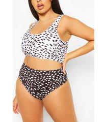 plus contrast deep scoop high waist bikini, black