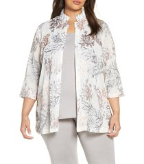plus size women's ming wang floral embroidered jacket