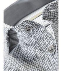 john miller heren overhemd zwart pied de poule widespread ml7 tailored fit