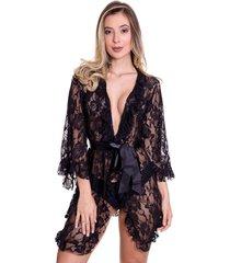 robe de renda estilo sedutor em fita de cetim preta - ek5014 - preto - feminino - renda - dafiti