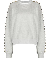 cynthia rowley saturday studded-sleeve sweatshirt - grey