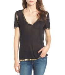 women's zadig & voltaire tino foil tee, size x-small - black