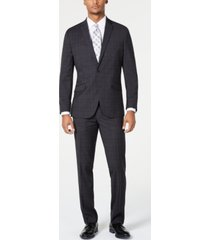 kenneth cole reaction men's ready flex slim-fit stretch bold charcoal plaid suit