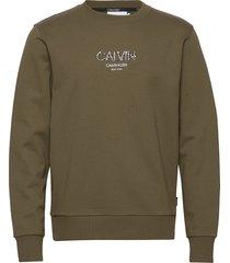 calvin small logo sweatshirt sweat-shirt trui groen calvin klein