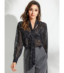 yoins black self-tie diseño blusa geométrica de manga larga con cuello en v