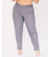 pantalon adrissa tallas plus efecto lino silueta olgada
