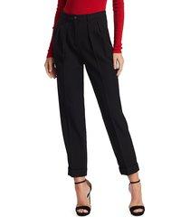 michael kors women's virgin wool tapered trousers - black - size 12