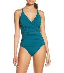 women's tommy bahama pearl one-piece swimsuit, size 4 - blue/green