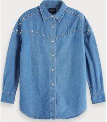 scotch & soda oversized denim blouse met studs