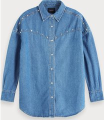 scotch & soda oversized denim blouse met studs