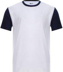 camiseta descanso mangas combinadas color blanco, talla s