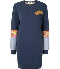 a bathing ape® contrast-panel mini sweatshirt - blue